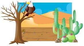Desert scene with eagle on tree. Illustration Stock Photos