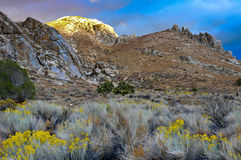 Desert Scene in Fall. Desert mountain caught late in the afternoon on a cloudy day Royalty Free Stock Photo