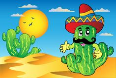 Desert scene with Mexican cactus Stock Image