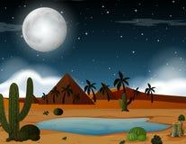 A desert scene at night stock illustration