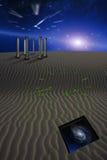 Desert Scene with temple Stock Photo
