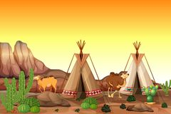 Desert scene with tents and camels. Illustration stock illustration