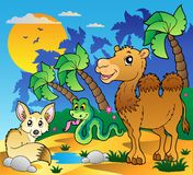 Desert scene with various animals 1. Vector illustration Stock Images