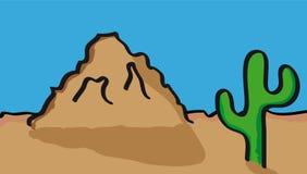 Desert scenery. Vector illustration of desert with cactus stock illustration