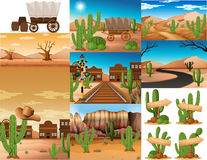 Desert scenes with cactus and buildings royalty free illustration