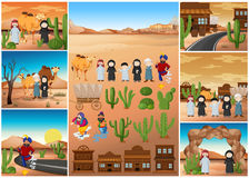 Desert scenes with people and buildings. Illustration Royalty Free Stock Image