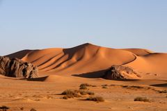 Desert scenes14. Landscapes of rocks and dunes in the algerian Sahara Stock Images