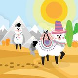 Desert seamless background elements, cartoon illustration with a royalty free illustration