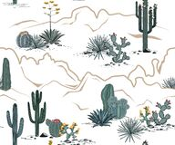 Free Desert Seamless Pattern With Mountains, Blooming Cacti, Opuntia, And Saguaro. Vector Background. Royalty Free Stock Photo - 174192345