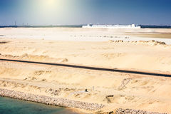 Desert ship -freightship traverses the Suez Canal in the directi Royalty Free Stock Photography
