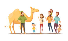 Desert Ship Riding Composition. Wild animals composition with dromedary camel riding instructor and group of curious kids and adult  characters vector Royalty Free Stock Photo