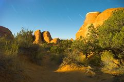 Desert Showing Rocky Scrubland. During twilight Royalty Free Stock Photos