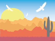 Desert with silhouette of eagles and cactus on sunny day retro. Style Stock Image