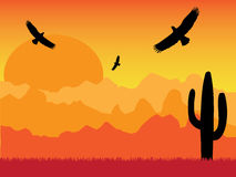 Desert with silhouette of eagles and cactus on sunny day retro. Style Stock Images