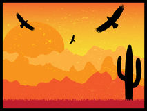 Desert with silhouette of eagles and cactus on sunny day retro Stock Images