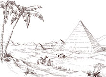 Desert sketch. A walk in the desert pyramids sketch Stock Images