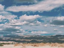 Desert sky. Blue sky with lots of clouds in the mojave desert near Palm Springs California Stock Photos