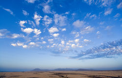 Desert and sky Fuerteventura. Sky over the desert on Fuerteventura royalty free stock image