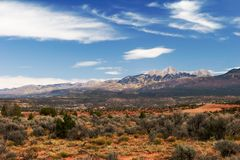 Desert, sky and mountains. In Utah Royalty Free Stock Photos