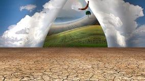 Desert sky opens to beyond. Desert sky opens to green beyond Stock Photo
