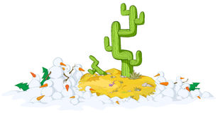 Desert Snow. Cold snowy weather theme cartoon, vector, isolated Stock Image