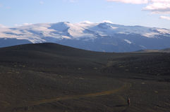 Desert and snow mountain, Iceland. Royalty Free Stock Photography