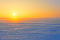 Desert of snow at sunset. Frozen desert of snow at sunset Stock Images