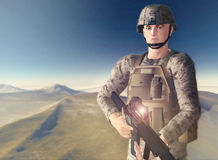 Desert Soldier. Modern soldier in desert setting with dust and soft vintage effect Royalty Free Stock Photography