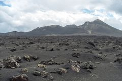 Desert stone volcanic landscape in Lanzarote, Canary Islands royalty free stock photo