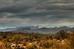 Desert Storm 32. Dramatic desert mountains with a storm approaching Stock Images