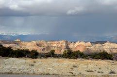 Desert Storm. Dark clouds and rain over the Utah desert along I-70 Royalty Free Stock Photography