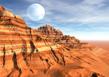 Desert strange scene planet moon. 3D rendering of a fictional landscape with sedimentary rocky mountains, fantasy big moon and mystery blue sky. Unknown alien royalty free illustration