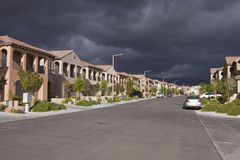 Desert Suburb Storm Stock Photography
