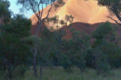Desert Sun Illuminates Uluru Stock Photos