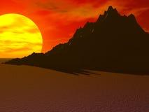 Desert Sun Mountain. Large sun behind desert mountain Stock Images