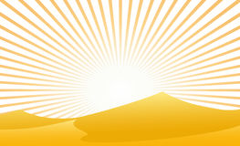 Desert With Sunbeam. Vector illustration of a desert with sunbeam in unique bars decoration Stock Image