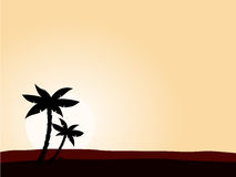 Desert sunrise background with black palm tree. Vector illustration of black palm tree on yellow sunset background. Perfect for travel agency or sea reasort Stock Photos