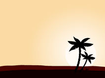 Desert sunrise background with black palm tree Stock Images