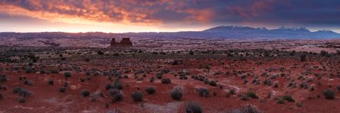 Desert Sunrise Panorama. The beautiful pallate of a desert sunrise - pre-dawn in Arches National Park, looking toward the La Sal mountains Stock Images