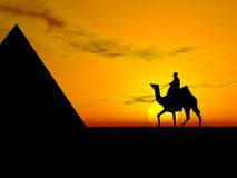 Desert Sunset. Deser Sunset. Desert sunset with camel stock illustration