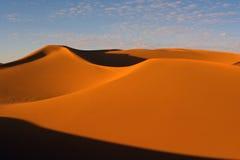 Desert on sunset. Erg Chebbi, Sahara, Morocco stock photos