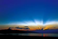Desert Sunset. Gobi Desert in Xinjiang on the beauty of the sunset Stock Photo