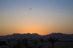 Desert sunset with bright color Stock Images