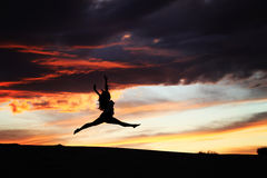 Desert Sunset Dancer Royalty Free Stock Photo