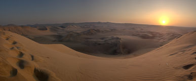 Desert sunset HDR. Sunset over sand dunes of Ica desert. HDR. Peru Stock Photos