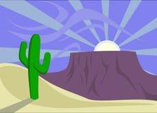 Desert Sunset Landscape Background Stock Image