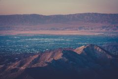 Desert Sunset Over Palm Springs. Retro Style View Across Palm Springs From Mountains Stock Image