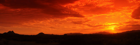 Desert Sunset Panorama Royalty Free Stock Photo