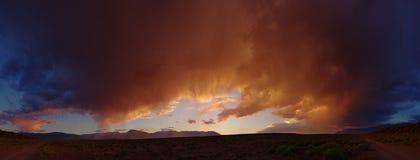 Desert sunset panorama Stock Photos