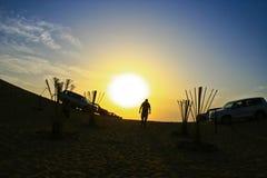 Desert sunset shadow Stock Image